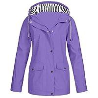 BOMING Winter Women Autumn Casual Daily Coats Women Solid Rain Jacket Outdoor Plus Waterproof Hooded Raincoat Windproof (2XL, Purple 001)