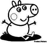 Peppa Pig George (20cm x 20cm) scegli il colore 18colori in azione Childs camera da letto, camera dei bambini stickers, vinile auto, finestre e autoadesivo della parete, muro di finestre Art, decalcomanie, ornamento vinile Thatvinylplace