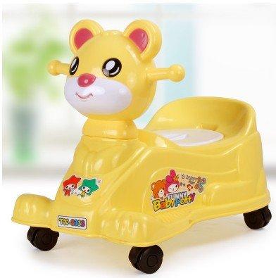 DJ Kinder kleines WC WC Toilette Baby Baby Töpfchen WC Folie 2-in-1-Auto mit Musik , yellow