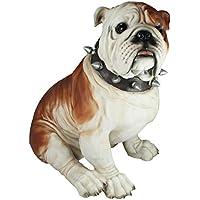 Hundefigur englische Bulldogge Max mit Halsband Gartenfigur Hund Figur Tier Deko