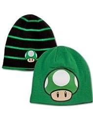 Nintendo Beanie Cap Pilz 1 Up Wendemütze grün, beidseitig tragbar - Mütze Strickmütze