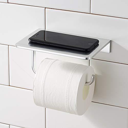 Toilettenpapierhalter ohne Bohren mit Ablage, Morfone Wandhalterung Klopapierhalter (silber)