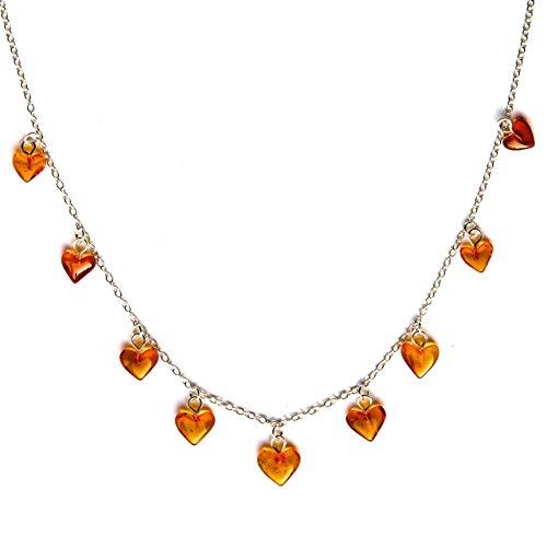 Mutter Tochter Kostüm Teenager Und - Sterling Silber 925 18 Zoll 46cm Halskette mit Bernstein Herzen