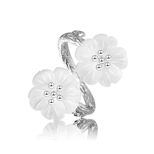 Lotus Fun S925 Sterling Silber Ring Blume im Regen Ring Natürlicher Kristall Handgemachter Einzigartiger Schmuck für Frauen und Mädchen (White Silber) (Schmuck Ringe Handgemachter)