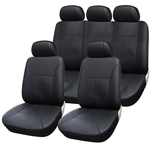 eSituro universal Auto Schonbezug Komplettset Sitzbezüge für Auto aus Kunstleder schwarz SCSC0083