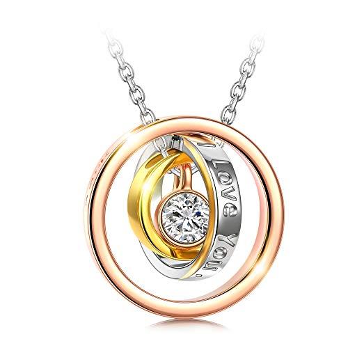 Kami Idea Weihnachts Geschenke Kette Damen Ringe Anhänger Gravierte Kreis Rosegold Swarovski Kristall Halsketten für Frauen Geschenk für Frauen Schmuck Damen Geburtstagsgeschenk für Frauen Mama