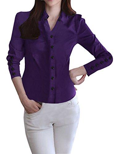 allegra-k-femme-manches-longues-boutons-manchettes-deco-chemise-pourpre-100-polyester-lieu-de-travai
