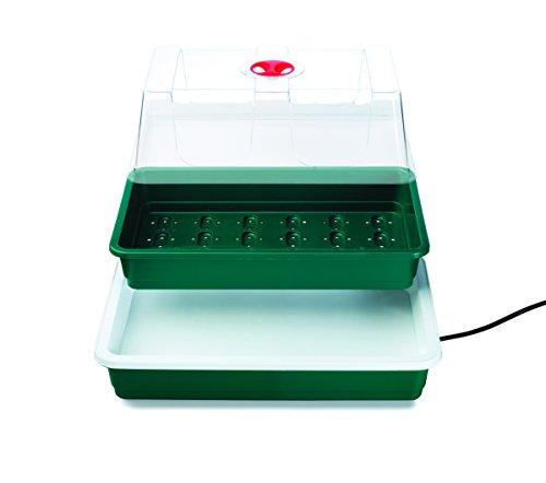 Seedeo Serre intérieure compacte et chauffée avec base de 10 watts + 3 litres de terreau + 15 pots en plastique + 2 échantillons de graines