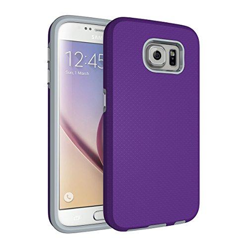 Slynmax Coque Galaxy S6 Violet,Coque Galaxy S6 [ Un Stylo Tactile], Luxe TPU Slim Bumper Souple Silicone Etui de Flexible Soft Case Cas Couverture Anti Choc Ultra Mince Légère Coque pour Galaxy S6