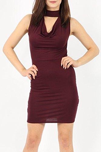 Damen Rollkragen Choker Viscose Kleid EUR Größe 36-42 Beere