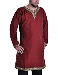 Medieval Gold Trim Long Sleeves Knight Tunic, Dark Red