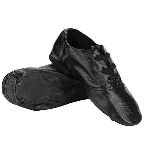Bicaquu Hochwertige PU Jazz Dance Schuhe Dancewear für Kind Erwachsene Schwarz(36) -