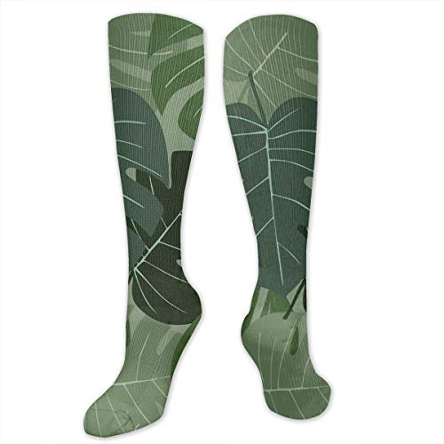 Unisex Highly Elastic Comfortable Knee High Length Tube Socks,Camouflage Pattern Of Palm Leaves Tropical Nature Themed Foliage,Compression Socks Boost Stamina,Sage Green Pale Green Sage Green Lace