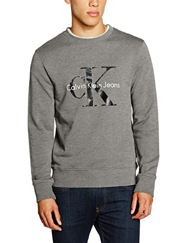 Calvin Klein Jeans Herren Sweatshirt Crew Neck Hwk True Icon, Grau (Mid Grey Heather 025), Small (Calvin Klein Leichte Jeans)