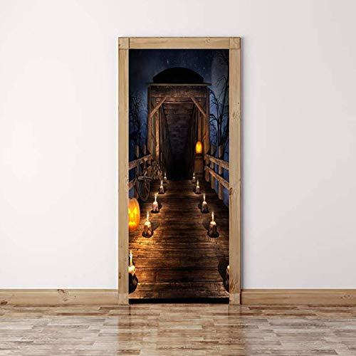 3d tür aufkleber selbstklebende fototapete abnehmbare schlafzimmer büro wandaufkleber dekoration 77x200 cm (kerze auf der brücke) - Brücke Kerze