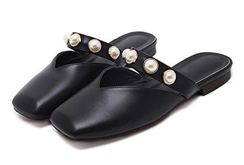 Sommer-Perle flache Hausschuhe Frauen Pantoffel Freizeit Baotou Hälfte flach mit weiblichen Sandalen und Pantoffeln Black