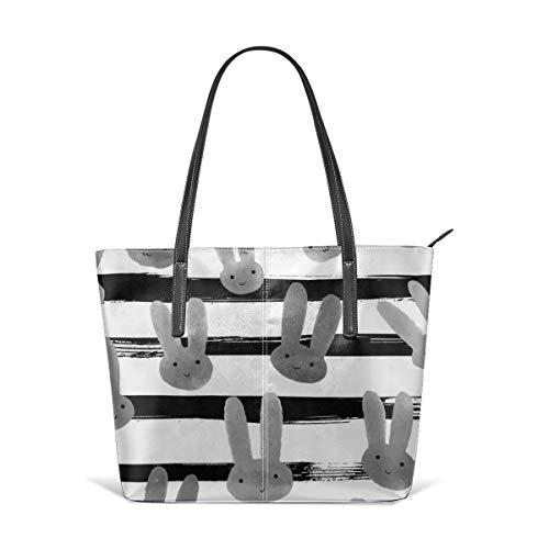 Frauen weiches Leder Tote Umhängetasche Bunny Love Black And White Stripe Fashion Handtaschen Satchel Purse - Stripe Zip Satchel
