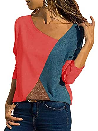 Women's Casual Color Block Patchwork Asymmetrical V-Neck Long Sleeve T Shirt Basic Tee Blouse Tops Tunic Pullover Shirt (Red, Small)