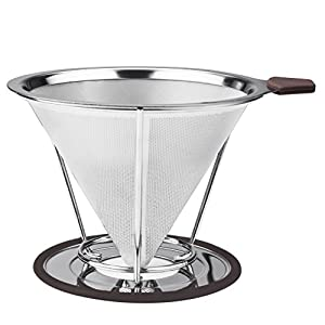 Vicloon Stainless Steel Reusable Drip Coffee Filter,Pour Over Cone Coffee Dripper Paperless, Separate Stand