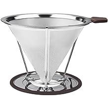 Vicloon Reutilizable Filtro de Café de Goteo de Acero Inoxidable, Verter Sobre Filtro De Café Permanente con Soporte