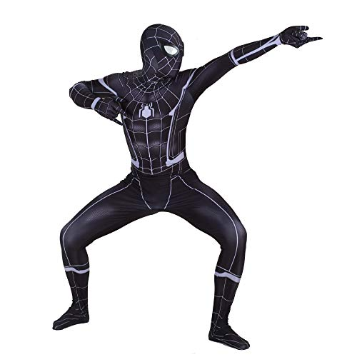 Hero Kid Kostüm - YXIAOL Schwarzer Spider-Man-Kampfanzug, Superheld-Kostüm, Heroes Returned Cosplay-Kostüm, Halloween-Partykleid, 3D-Lycra-Strumpfhose (S-XXXL),Child-S