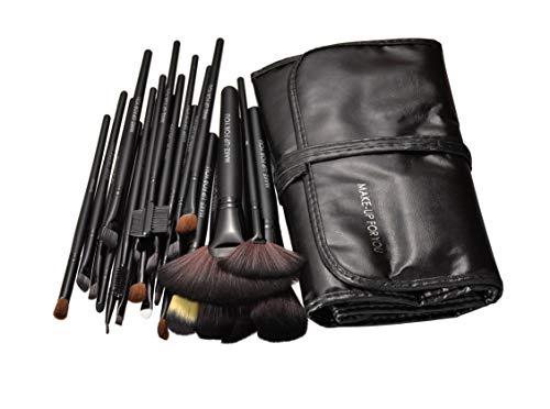 afunti 24pcs professionale capelli sintetici trucco pennelli Kit Strumenti Make Up con custodia (Nero)
