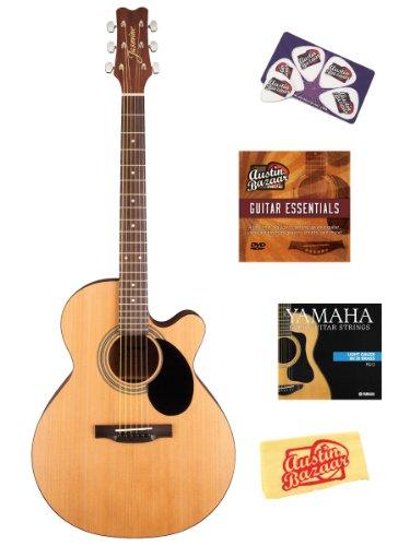 Jasmine S34C NEX Cutaway Akustikgitarre Set mit Anleitungs-DVD, Saiten, Plektrumkarte und Poliertuch, Natur