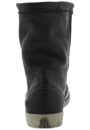 Softinos Iggy washed leather Damen Kurzschaft Schlupfstiefel Schwarz