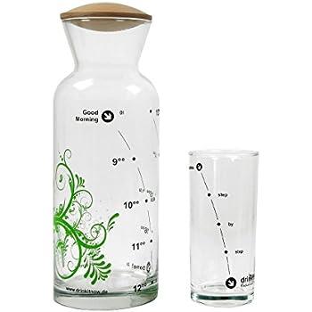 Set Karaffe, Floral 8-18h, grün, Glas 1l, Nussbaum+ Glas|