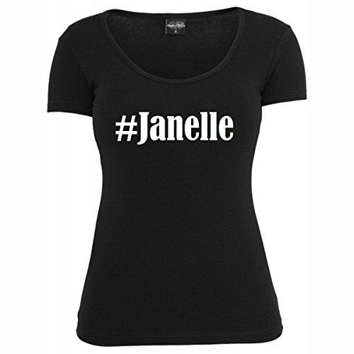 T-Shirt #Janelle Hashtag Raute für Damen Herren und Kinder ... in den Farben Schwarz und Weiss Schwarz
