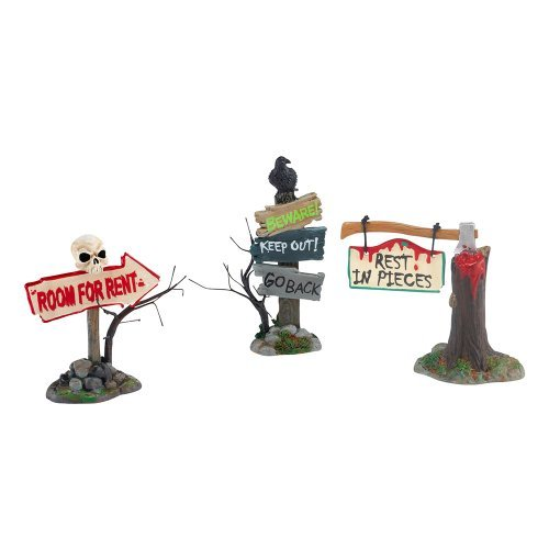 Department 56 4025400 Halloween Accessories for Dept 56 Village Collections Haunted Signs, Set of 3 Village Accessory, 2.95-Inch by Department 56