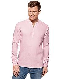 it lino Abbigliamento Amazon Rosa camicia Uomo p41xwfq