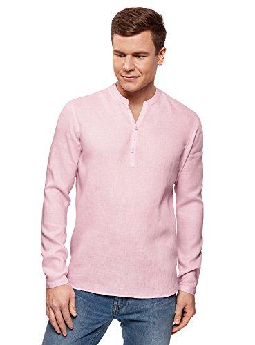 oodji Ultra Herren Kragenloses Leinenhemd, Rosa, 38cm/DE 44/XS
