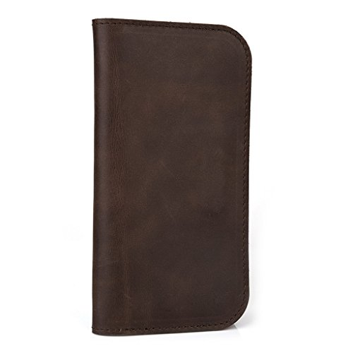 Housse étui portefeuille en cuir véritable pour Prestigio MultiPhone 4040Duo Brun - peau Marron - marron