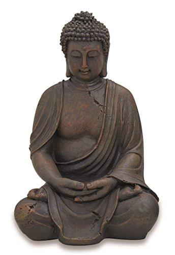Buddha Figur sitzend 30cm in Braun