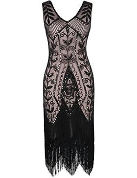 PrettyGuide Damen 1920er Gatsby Kleid Art Deco Pailette Fransen Flapper Cocktailkleid
