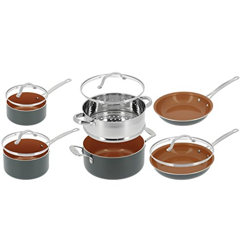 BATTERIE SET DE CUISINE 10 PIECES GOTHAM STEEL - FAITOUT POELES CASSEROLES - TELE ACHAT 7109612486806