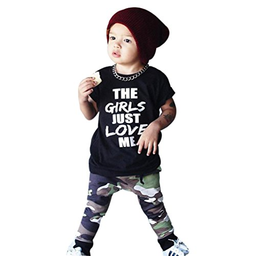 Kinderkleidung Jungen,Binggong Kleinkind-Säuglingsbaby-Buchstabe-T-Shirt Oberseiten-Tarnungs-Hosen-Ausstattungs-Kleidungs-Satz Sommer Weste Oberteile Mode (110, - T-shirts Lange ärmel Cartoon