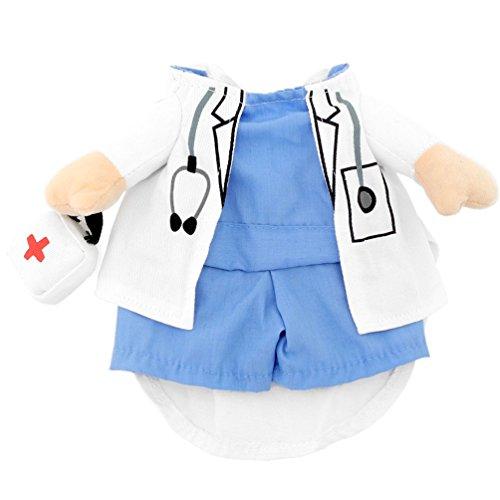Imagen de smalllee _ lucky _ store pequeño perro ropa para niñas niños gato perro disfraz de médico, capa de abrigo para perros todas las estaciones, color azul, blanco alternativa