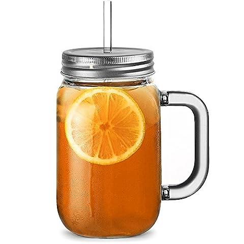 Bar@ drinkstuff Mason-Glas aus Kunststoff, mit Deckel und Trinkhalm, Bisphenol-A-frei,