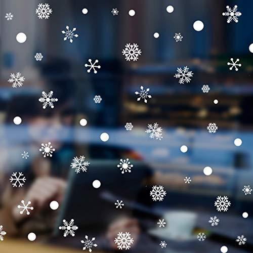 VHVCX Wandaufkleber Fensteraufkleber Fensterglas Weihnachten Ornament Szene Layout Fenster Abziehbilder Weihnachten Schneeflocken