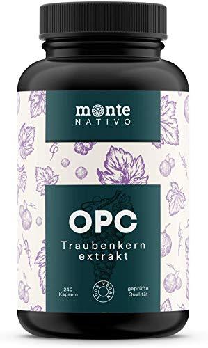 OPC Traubenkernextrakt MonteNativo - 240 vegane Kapseln | 800 mg Extrakt mit 528mg reinem OPC pro Tag nach HPLC-Methode | Aus französischen und italienischen Weintrauben. Hergest. in Deutschland