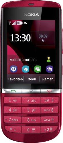 Nokia Asha 300 Handy (6,1 cm (2,4 Zoll) Touchscreen, 5 Megapixel Kamera) rot -