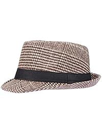 Screenes Sombrero De Fieltro Señoras Otoño Invierno Beanie Jazz Sombrero A Estilo  Simple Cuadros Elegante Moda 0d07602b5a7