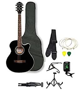 Kadence Frontier Series Acoustic Guitar (With Equalizer And Pickup) ,Black Super Combo(Foldable Guitar Stand,Tuner,Capobag,Strap,Strings And 3 Picks)