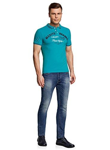 oodji Ultra Herren Poloshirt mit Kontrastbesatz und Brustdruck Türkis (7379P)