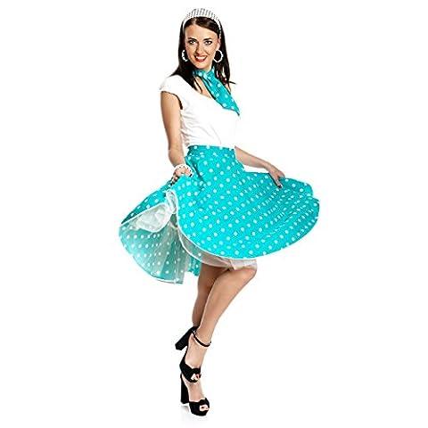 Kostümplanet® Rock-n Roll Rock Kostüm hell-blau weiß gepunkteter Rock knielang mit passendem Schal Halstuch Tellerrock 50er Jahre Stil Mode Kostüm Rockabilly Damen Outfit Polka
