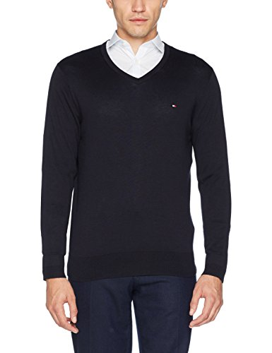 Tommy Hilfiger Herren Pullover Core Cotton-Silk Vneck Blau (Sky Captain 403)