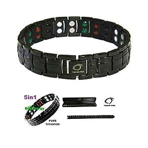 Confezione regalo di velluto nero doppia forza braccialetto magnetico in titanio per uomini + Plus - artrite | Golf braccialetto | Strong Links Bracelet for Men