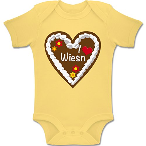 Shirtracer Oktoberfest Baby - Lebkuchenherz I Love Wiesn München - 1-3 Monate - Hellgelb - BZ10 - Baby Body Kurzarm Jungen Mädchen (Baby Bierflasche Kostüm)